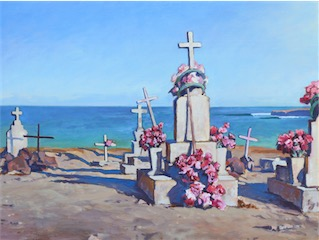 Red Flowers by the Sea 18 x 24